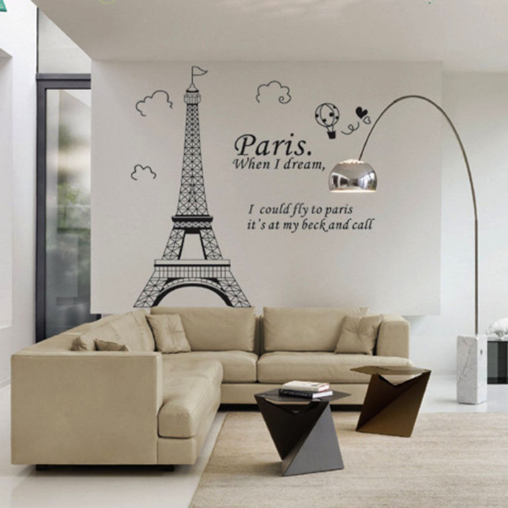 Large paris eiffel tower wall sticker art vinyl decal mural home large paris eiffel tower wall sticker art vinyl decal mural home decor diy amipublicfo Images