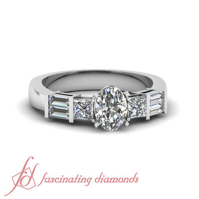 .85 Ct Oval Shape SI1-F Color Diamond Bar Set Engagement Ring 14K White Gold GIA