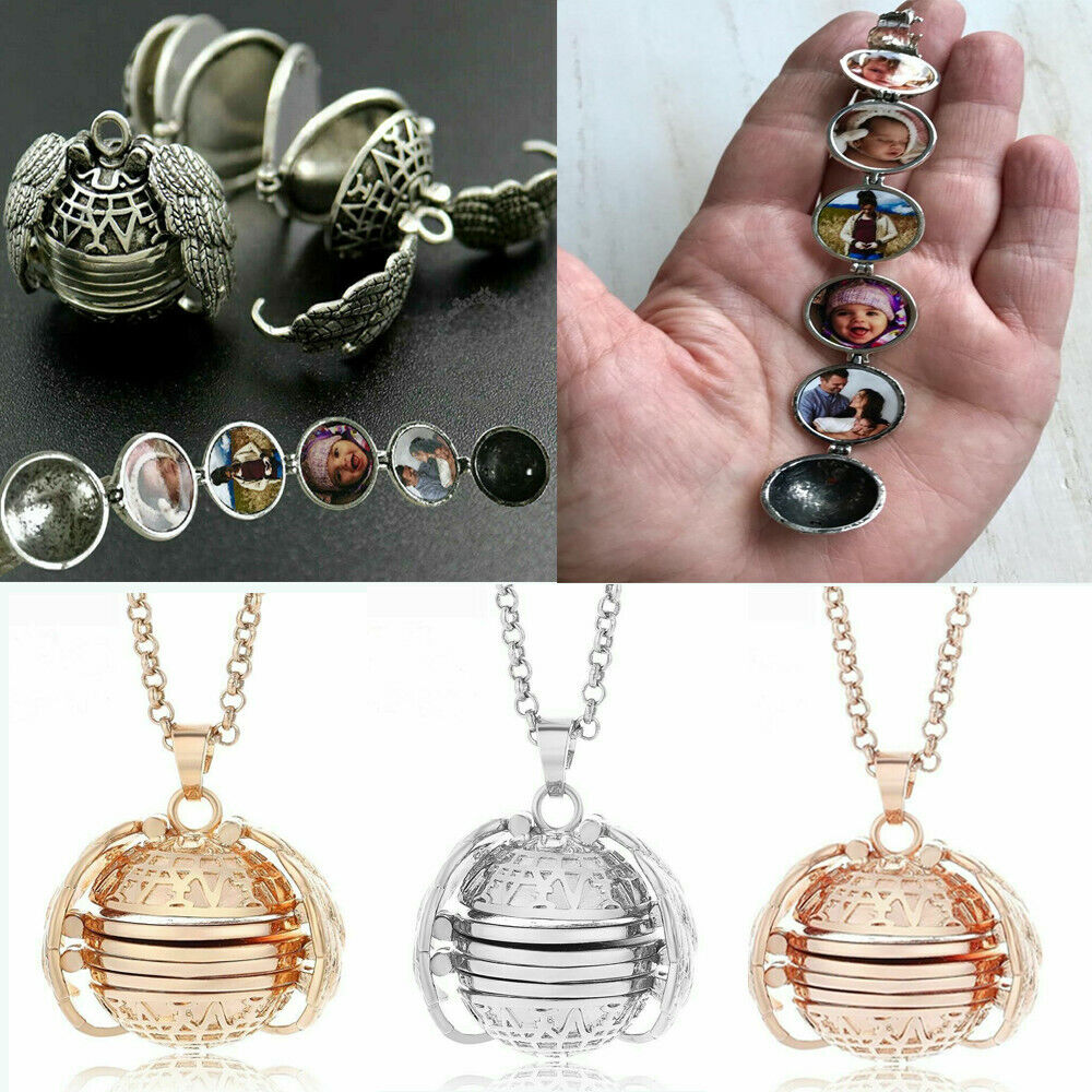 Vintage Expanding 4 Photo Memory Locket Wing Angel Charm Pendant Chain Necklace