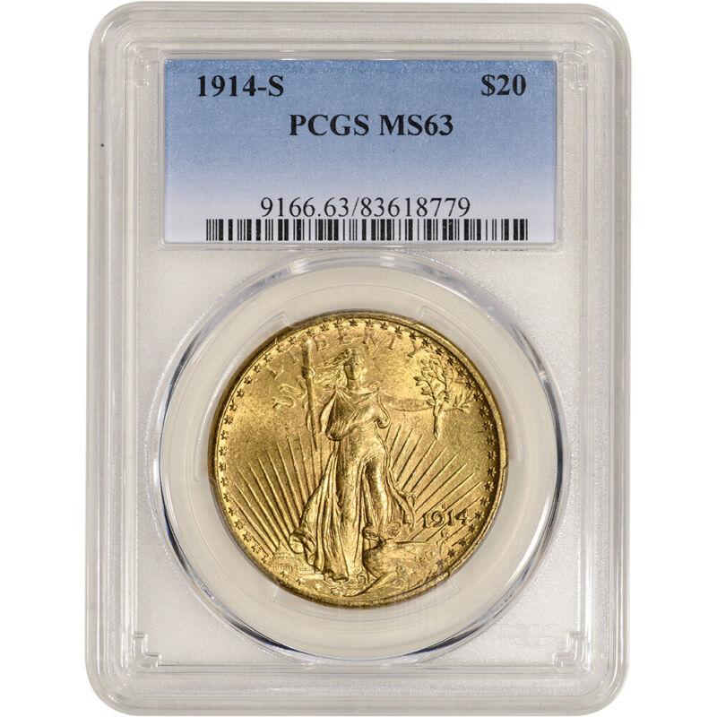 1914-S US Gold $20 Saint-Gaudens Double Eagle - PCGS MS63