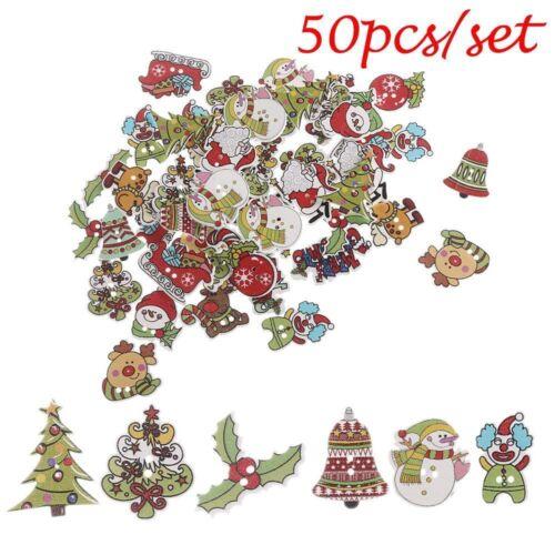 50Pcs Scrapbooking Sewing Wooden Santa Claus Deer Christmas Buttons 2 Holes 2018