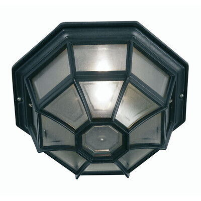 Black Flush Porch Ceiling Light Spider Web design Indoor Outdoor IP44 Polycarb