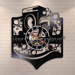 Laundry Room Logo Business Sign Vinyl Record Clock Laundry Service Decor Gift