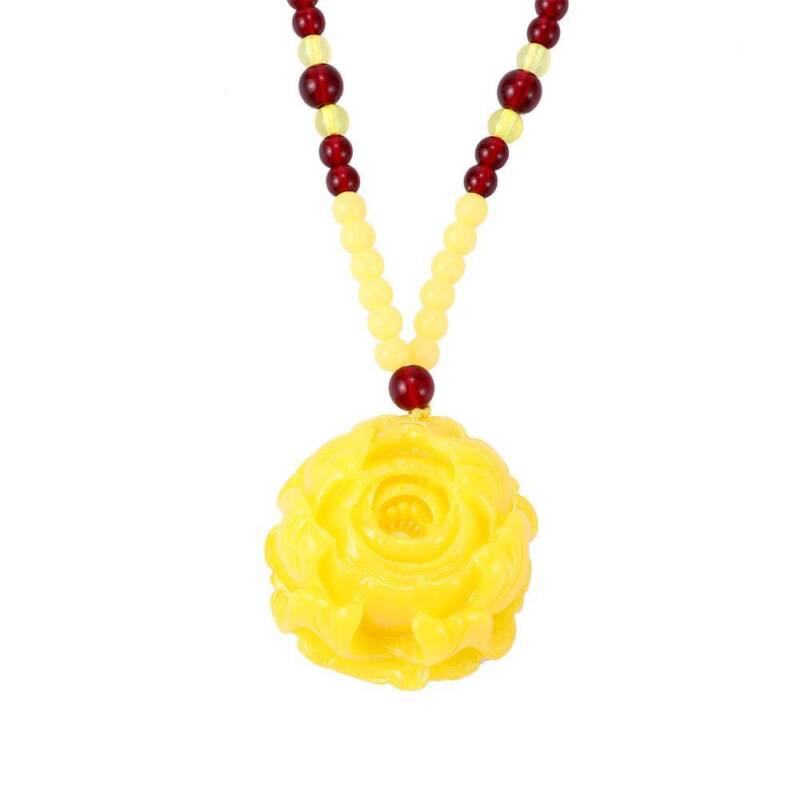 Natural Resin Yellow Jade Sweater Chain Pendant Necklace Fashion Lucky Charm C