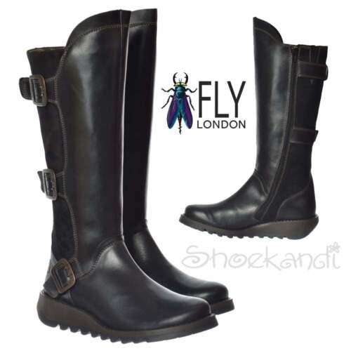 986a7a10259 Las señoras Londres mosca Synd rodilla alto de cuero bota de invierno baja  cuña negro nuevo