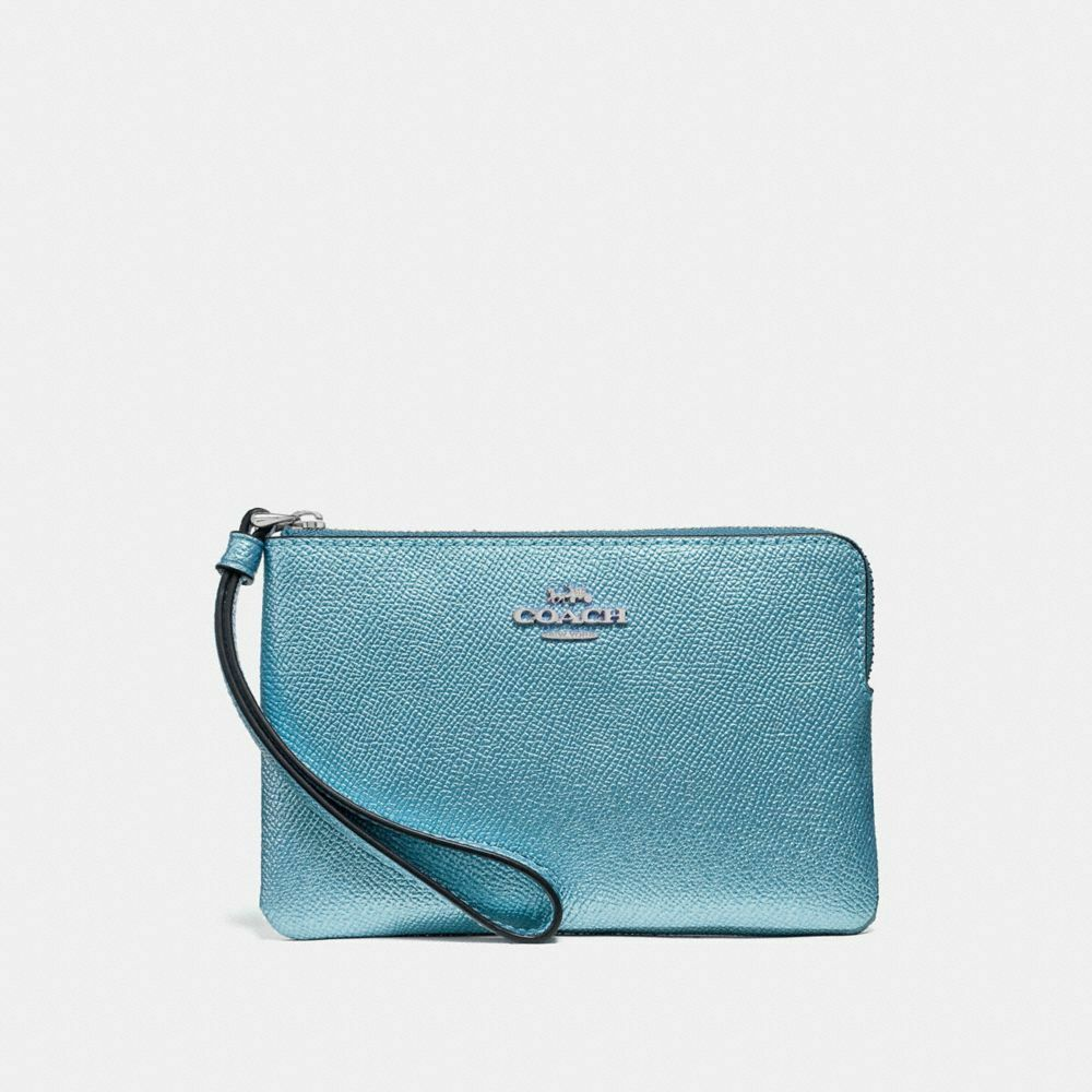 New Coach F58032 F58035 Corner Zip Wristlet With Gift Box New With Tags Metallic Sky Blue