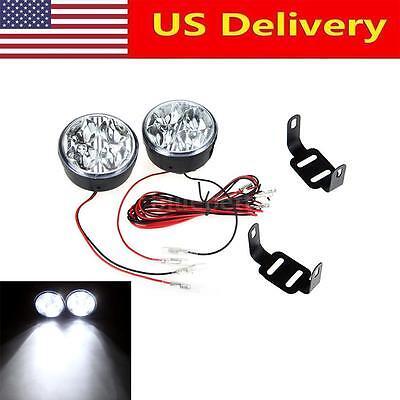 2x 4 LED Round Daytime Driving Running Light DRL Car Fog Lamp Head Light White