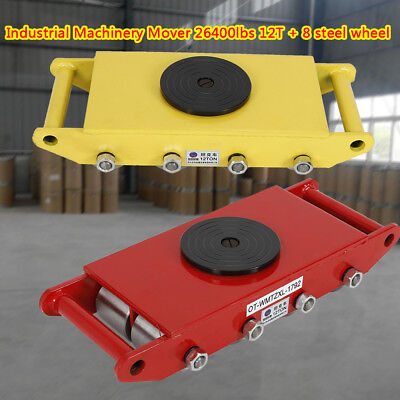 Yellowred Heavy Duty 12t 26400lbs Roller Mover Machine Dolly Machinery 8wheels
