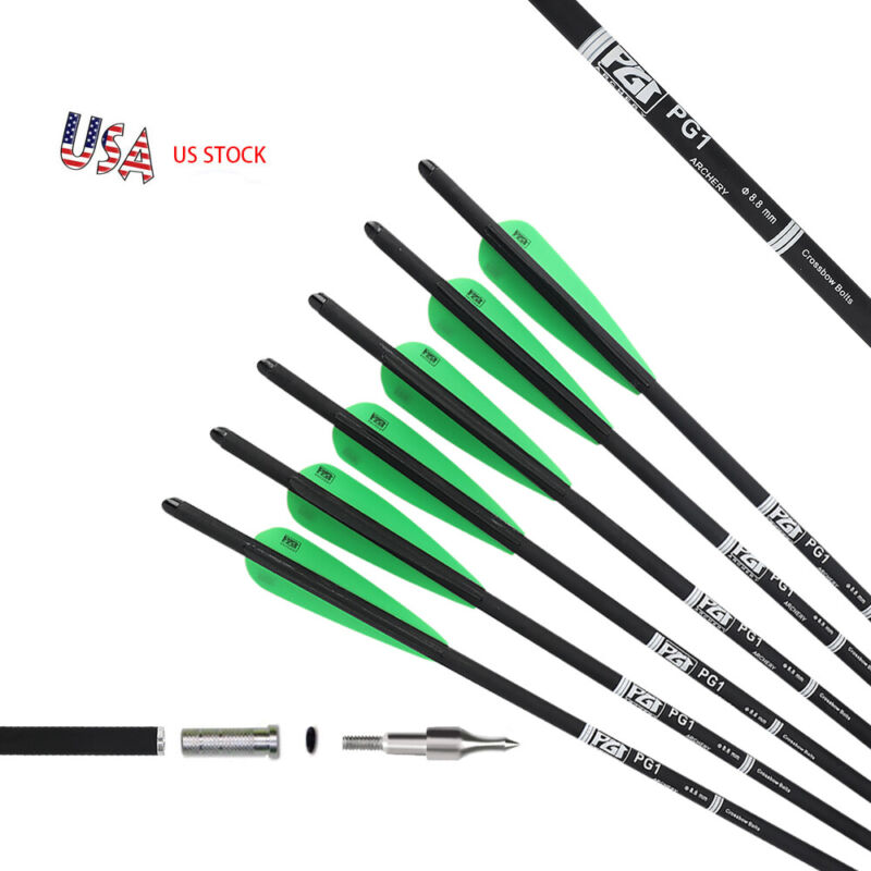 12 Pack 20 INCH Archery Crossbow Bolts Carbon Hunting Arrows 100gr Screw Tips