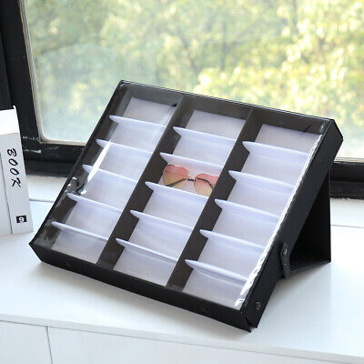 Sunglasses Display Case 18 Slot Sunglass Eyewear Storage Case Tray Organizer (Organize Sunglasses)