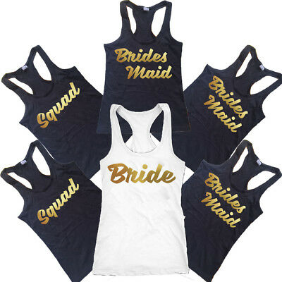 NEW Bride Squad Bridesmaid TANK TOP CREATE Wedding Party Lady Tee Bachelor - Bride Tank Top
