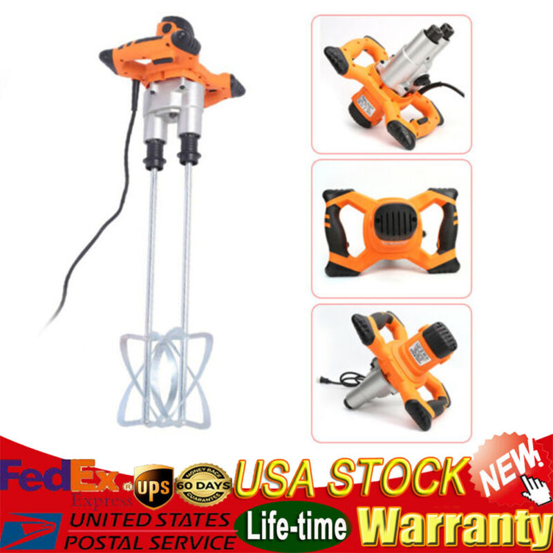 Twin Paddle Electric Mortar Mixer HandHeld Paint Cement Grout Mixer 110V 1600W