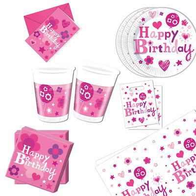 Geburtstag Mädchen Party Dekoration Teller Becher Girlande etc in Pink Rosa ()