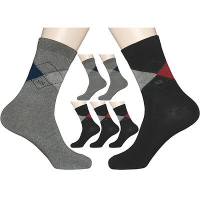 "5 Pairs Mens Diabetic Argyle Dress Socks MK ""Skin contact surface is 100% cotton"