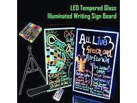 LED Tempered Glass Neon Illuminated Menu Sign Writing Board+Remote+Pens