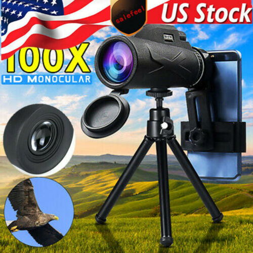 80X100 Zoom Prism HD Optical Portable Monocular Telescope+Phone Clip+Tripod+Bag