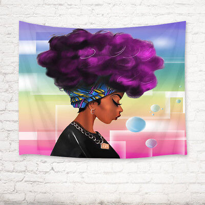 African Tapestry (Afro Purple Hair African Woman Tapestry Wall Hanging Living Room Bedroom Decor)