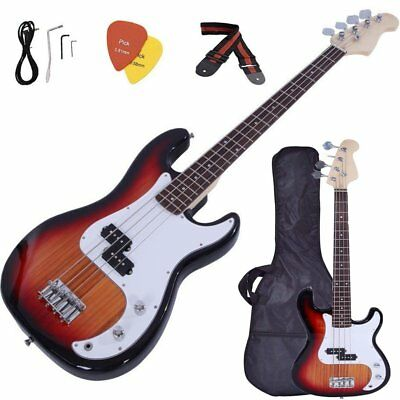 "46"" Electric Style Bass Guitar + Case Bag + Cord + Wrench Tool Sunset Black Vip"