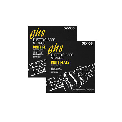 2-Pack GHS ML3075 Brite Flat Flatwound Medium/Light Electric Bass Strings 52-103