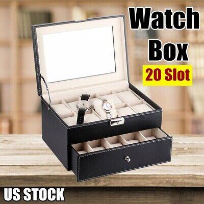 20 Slot Leather Display Watch Box Case Organizer Jewelry Storage Top Glass Black
