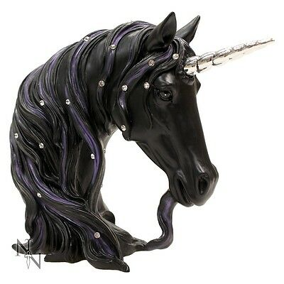 Stunning Large 'Jewelled Midnight' - Black Unicorn Head by Nemesis Now - 31cm