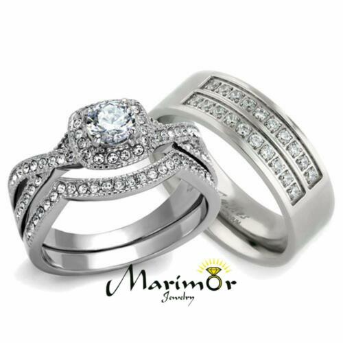 His & Her 3pc Silver Stainless Steel & Titanium Wedding E...