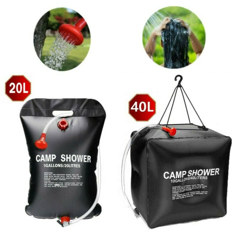 New Outdoor Camping Portable Shower Foldable Solar Sun Heated Camp Water Bag 20L