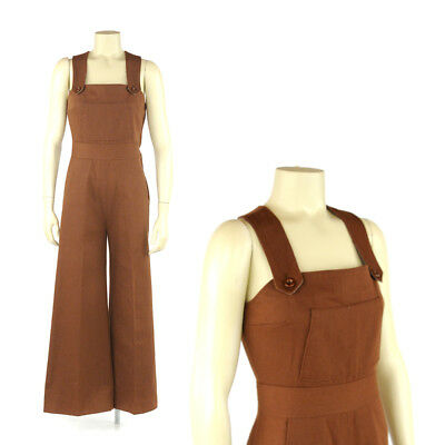 Vintage 70s Warm Brown Cotton Blend Wide Bell Bottom Leg Jumpsuit Overalls S