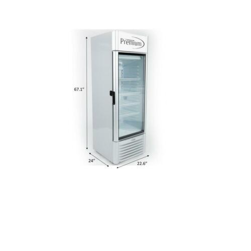 9.0 CuFt Single Glass Door Upright Display Cooler. Merchandiser Refrigerator