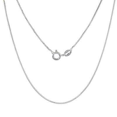 Sterling Silver 0.8 mm Thin Box Chain Necklace, Nickel Free, Made in - Free Box Chain