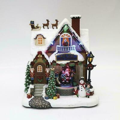 "10"" Animated Musical Santa House LED Fun Christmas Village Lighted Building"