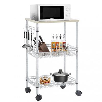 Utility Cart Wire 3 Tier Rolling Cart Organizer NSF Kitchen Cart on Wheels Metal Chrome Kitchen Kitchen Cart