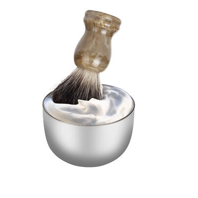 Useful Fashion Stainless Steel Metal Men's Shaving Mug Bowl Cup For Shave Brush