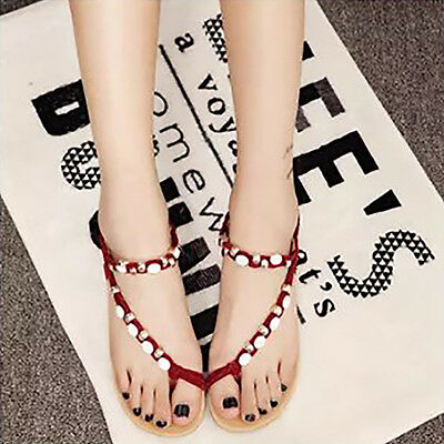 Women Flat Shoes Flat Heel Sandals Elastic Shoelaces Peep-Toe Flip Flops Shoes 6