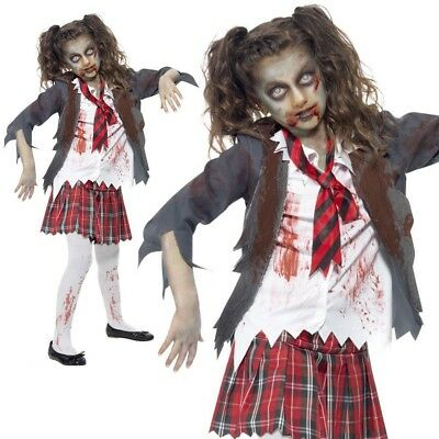 Child Zombie School Girl Costume Girls Halloween Horror Fancy Dress Outfit New