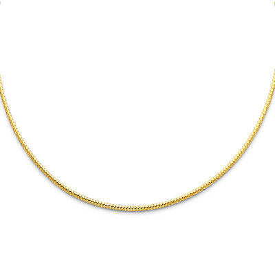 Real 14k Yellow White Gold 1MM 1.5MM 2MM Sparkle Omega Necklace Chain 17