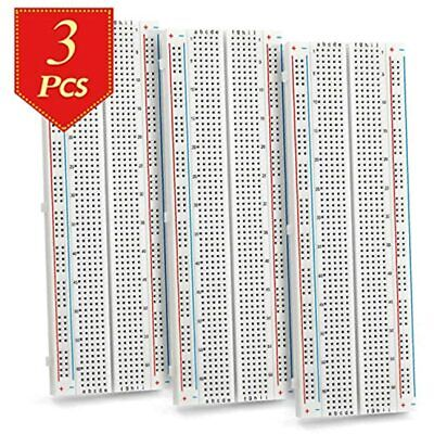 Chanzon 3 Pcs Breadboard With 830 Tie Points Mb-102 Solderless Prototype Kit