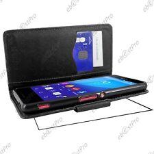 Housse Etui Coque Portefeuille Simili Cuir Noir Sony Xperia M4 Aqua / Dual