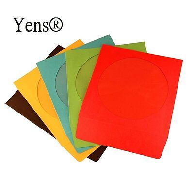 100 Pack Premium Color Paper CD DVD Sleeves Envelope with Window Mixed Color