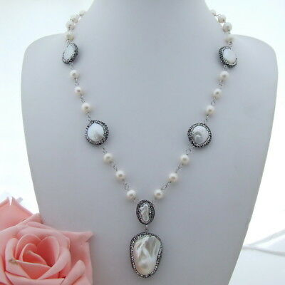 AB072907 23'' White Coin Pearl Necklace Keshi Pearl Pendant White Coin Pearl Pendant
