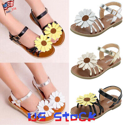 Summer Girls Sandals Princess Fashion Shoes Buckle Flats Sunflower Strappy US