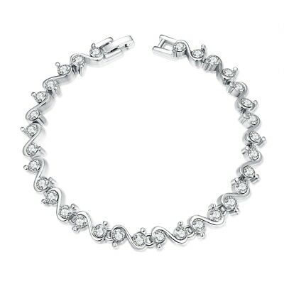 Sterling Silver CZ Tennis Bracelet AAA Round Brilliant 4mm Cubic Zirconia