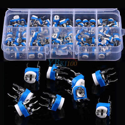 100pcs 10 Values Potentiometer Trimpot Variable Resistor Assortment Box Kit Inm