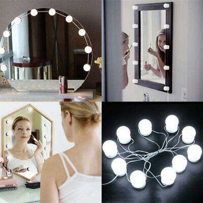 10 Led Bulbs Hollywood Mirror Lights Vanity Bathroom Table Dressing Makeup Light