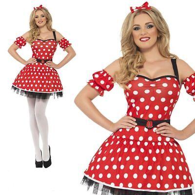 Fever Miss Minnie Costume Womens Ladies Storybook Mouse Fancy Dress UK (Miss Minnie Kostüme)