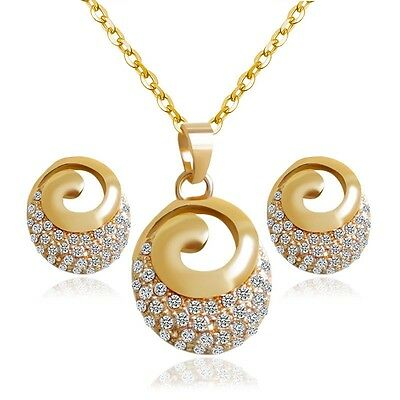 Jewelry Sets Fashion White Rhinestone Gold Plated Stud Earrings Pendant Necklace