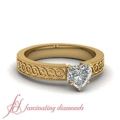 Diamond Solitaire Georgian Ring With 0.65 Ct Heart Shape In 14K Yellow Gold GIA