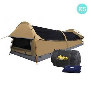 AUS FREE DEL-King Single Camping Canvas Swag Tent Beige w/ Pillow Sydney City Inner Sydney Preview
