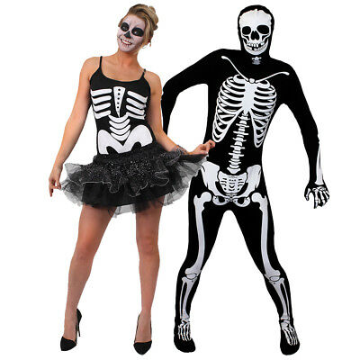 Couple Halloween Costumes For Adults (ADULTS HALLOWEEN COUPLE COSTUMES SKELETON TUTU DRESS SKIN SUIT FANCY DRESS)