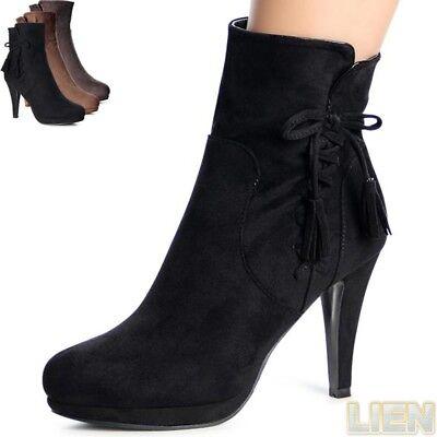 Damen Plateau Stiefeletten Ankle Boots Booties Stiefel Pumps High Heels Fransen  Damen Fransen Stiefel
